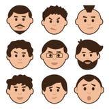 Płaski ustawiający mężczyźni, avatar z różnymi emocjami, wektor royalty ilustracja