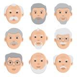 Płaski ustawiający twarz starzy człowiecy, avatar, wektor ilustracji