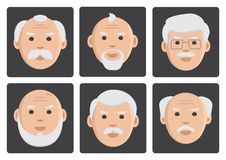 Płaski ustawiający twarz starzy człowiecy na szarym tle, avatar, wektor ilustracja wektor