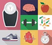 Płaski wektorowy diety i sporta set royalty ilustracja