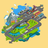 Płaski wektorowy mapa krajobraz; parki; budynki; miejsca siedzące teren; Obraz Royalty Free