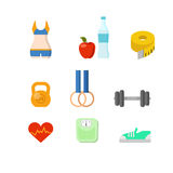 Płaski wektorowy sport sprawności fizycznej narzędzi zdrowie ćwiczenia sieci app ciężar Obrazy Royalty Free