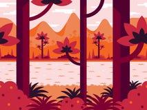 Płaski wektorowy tło w pomarańcze barwi z lasem, rzeką i górami, Obrazy Royalty Free