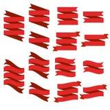 Płaski wektorowy tasiemkowy sztandaru mieszkanie, set czerwone tasiemkowe ilustracje odizolowywać na białym tle royalty ilustracja