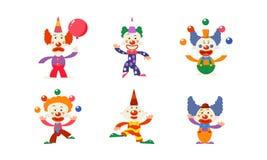 Płaski wektorowy ustawiający 6 śmiesznych błazenów w różnych akcjach Cyrkowi artyści z kolorowymi perukami i makeup na twarzach ilustracji