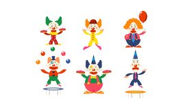 Płaski wektorowy ustawiający błazeny w różnych akcjach Cyrkowi artyści w kolorowych perukach postać z kreskówki śmieszni ilustracja wektor