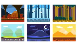 Płaski wektorowy ustawiający 6 bezszwowych tło dla wideo gry Lasy, góry, pustynia z ostrosłupami Kreskówka krajobrazy ilustracji