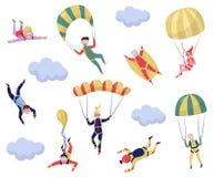 Płaski wektorowy ustawiający fachowi skydivers sport ekstremalny Młoda wingsuit bluza Aktywny odtwarzanie Skydiving temat royalty ilustracja