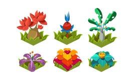 Płaski wektorowy ustawiający fantazj rośliny Tropikalni drzewa i kwiaty Natura krajobrazowi elementy dla komputerowej lub mobilne ilustracja wektor