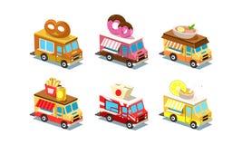 Płaski wektorowy ustawiający isometric karmowe ciężarówki Samochody dostawczy z preclem, pączkiem, polewką, francuzów dłoniakami  ilustracja wektor