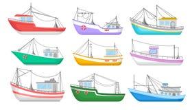 Płaski wektorowy ustawiający kolorowe łodzie rybackie tła czarny ikon linie świecąca setu transportu wektoru woda Połowów trawler ilustracja wektor