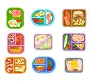 Płaski wektorowy ustawiający lunchów pudełek plastikowe tace z wyśmienicie posiłkiem Apetyczny jedzenie Łosoś ryba, świezi warzyw ilustracji