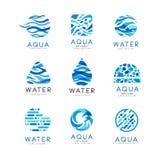 Płaski wektorowy ustawiający oryginalni aqua logowie Abstrakcjonistyczni błękitni emblematy dla wodnych doręczeniowych firm Eleme Obraz Royalty Free