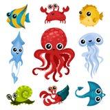 Płaski wektorowy ustawiający różni oceanów zwierzęta Morskie istoty z błyszczącymi oczami Ryba, ośmiornica, denny ślimaczek, jell ilustracja wektor