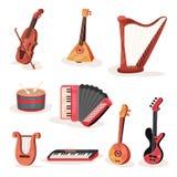 Płaski wektorowy ustawiający różnorodni sznurki, klawiatury i perkusja instrumenty muzyczni, Element dla reklamowego sztandaru lu royalty ilustracja