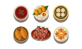 Płaski wektorowy ustawiający talerze z smakowitymi Azjatyckimi naczyniami kuchnia tradycyjna chińska pyszne jedzenie apetyczny po royalty ilustracja