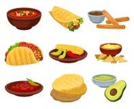Płaski wektorowy ustawiający tradycyjny Meksykański jedzenie Puchar korzenna polewka, burrito, mąk tortillas, guacamole, churros  ilustracji