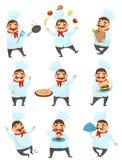 Płaski wektorowy ustawiający z śmiesznym szefem kuchni w różnych akcjach Fachowy restauracyjny pracownik Mężczyzna z wąsy w kuchn royalty ilustracja