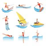 Płaski wektorowy ustawiający z młodymi człowiekami i kobietami wymagającymi w różnorodnych wodnych sportach aktywny tryb życia ka royalty ilustracja
