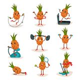 Płaski wektorowy ustawiający zhumanizowany ananas w różnych akcjach Aktywny trening Postać z kreskówki tropikalna owoc royalty ilustracja