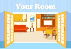 Płaski wygodny pokój w domu z otwarte drzwi tłem ilustracja wektor