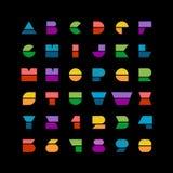 Płaskich kolorowych geometrycznych kształtów listów stylowa chrzcielnica z liczbami Zdjęcia Royalty Free