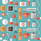 Płaskich Medycznych ikon Bezszwowy wzór ilustracja wektor