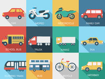 Płaskich samochodów pojęcia ikony ustaleni tła Obrazy Royalty Free