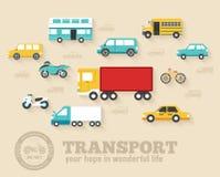Płaskich samochodów pojęcia ikony ustalonych tło ilustracyjny projekt Szablon dla sieci i wiszącej ozdoby Obraz Stock