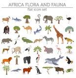 Płaskie Afryka flory, fauny i kartografują konstruktorów elementy Zwierzęta, b ilustracja wektor