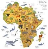 Płaskie Afryka flory, fauny i kartografują konstruktorów elementy Zwierzęta, b ilustracji