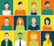 Płaskie avatar app ikony ustawiają użytkownik twarzy ludzi wektorowych Zdjęcie Royalty Free