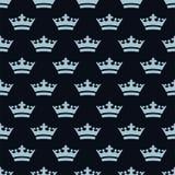 Płaskie błękit korony bezszwowy wzoru Fotografia Royalty Free