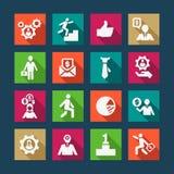 Płaskie biznesowe ikony ustawiać Zdjęcia Stock