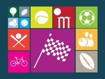 Płaskie colour guzika ikony na białym tle sławni sporty royalty ilustracja