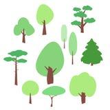 Płaskie drzewne ikony ustawiać na bielu royalty ilustracja