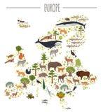 Płaskie Europejskie flory i fauny kartografują konstruktorów elementy Zwierzęta, royalty ilustracja