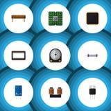Płaskie ikon elektronika Ustawiać komputer mainframe, jednostka, tranzystor I Inni Wektorowi przedmioty, Także Zawiera set, grosz ilustracji