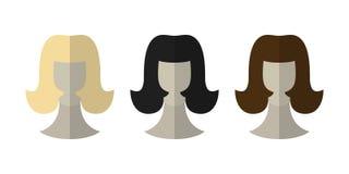 Płaskie ikon fryzury Blondynka, brunetka Różne koloru włosy peruki ilustracji