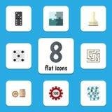 Płaskie ikon gry Ustawiać gra, pionek I Inni Wektorowi przedmioty Dla wielu graczy, kości, Także Zawiera labirynt, Bingo, domino  royalty ilustracja