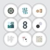 Płaskie ikon gry Ustawiać strzała, wyrzynarka, loteria I Inni Wektorowi przedmioty, Także Zawiera labitynt, karty, Przegrani elem ilustracja wektor