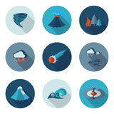 Płaskie ikon katastrofy naturalne Obraz Stock
