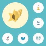 Płaskie ikony Beachwear, Shell, kasztel I Inni Wektorowi elementy, Set lato ikon Płascy symbole Także Zawiera wierza royalty ilustracja