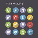 Płaskie ikony Dla interfejsu Zdjęcia Stock