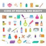 Płaskie ikony dla medycyny i piękna Obrazy Royalty Free