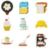 Płaskie ikony dla ranku menu ilustracji