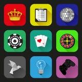 Płaskie ikony i piktogramy ustawiający Zdjęcie Royalty Free