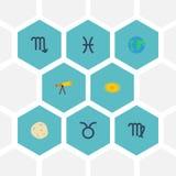 Płaskie ikony kometa, dziewica, przestrzeń I Inni Wektorowi elementy, Set Płascy ikona symbole Także Zawiera kosmos, Virgo, Galax Obraz Royalty Free