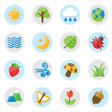 Płaskie ikony natury i drzewo ikon wektoru ilustracja Zdjęcia Royalty Free