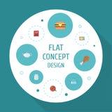Płaskie ikony Teapot, potrawka, rosół I Inni Wektorowi elementy, Set Kulinarne Płaskie ikony Obraz Royalty Free